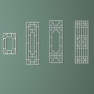 室内中式雕花窗格3d模型