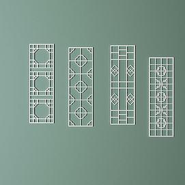 室内中式雕花隔断模型
