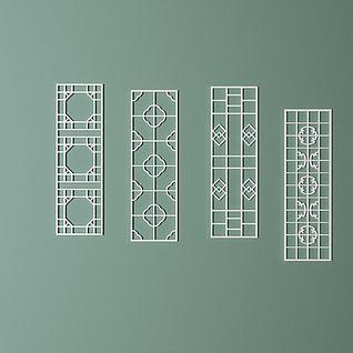 室内中式雕花隔断3d模型