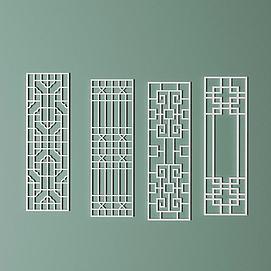 雕花镂空中式隔断模型