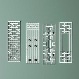 雕花镂空中式隔断3d模型