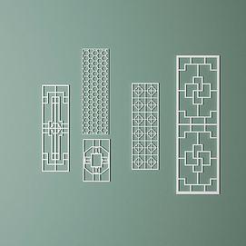 中式仿古窗框模型