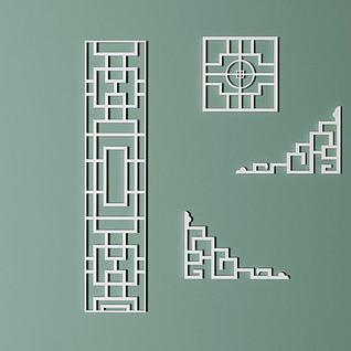 中式仿古窗框模型3d模型