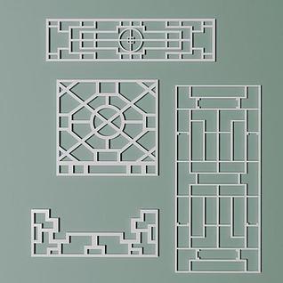 花格角花窗框模型3d模型