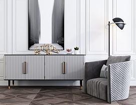 现代边柜单人沙发组合模型
