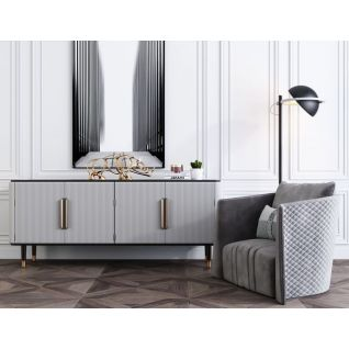 现代边柜单人沙发组合3d模型