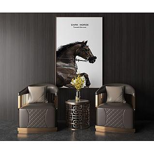 现代轻奢单人沙发3d模型