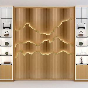 新中式背景墙模型