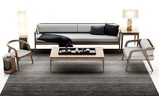 新中式组合沙发模型3d模型