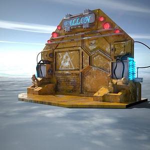 科幻風格時光傳送門模型3d模型