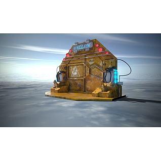 科幻风格时光传送门3d模型