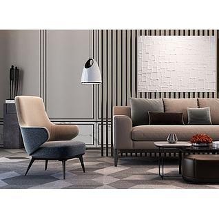 现代极简沙发组合3d模型3d模型