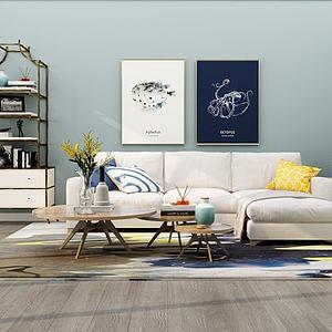 3d现代简约风格沙发组合模型