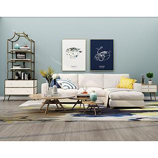 现代简约风格沙发组合3d模型