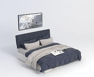 双人床模型3d模型