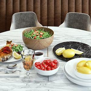 现代餐桌食物模型