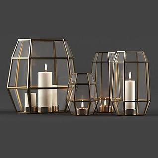 現代蠟燭燈飾品3d模型