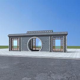 3d中式景墙模型