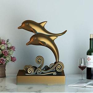 3d金海豚摆件模型