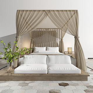东南亚双人床3d模型