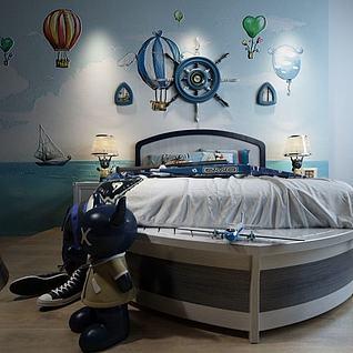 地中海双人床3d模型