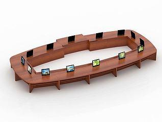 14位升降椭圆会议桌3d模型