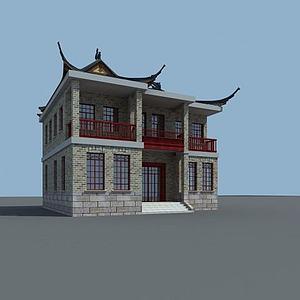 中式民國風建筑模型3d模型