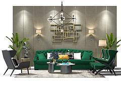 沙发茶几组合模型3d模型