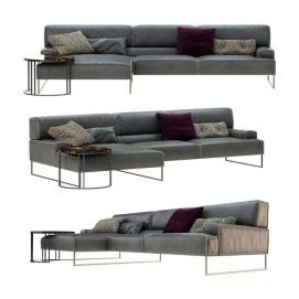 现代真皮沙发模型