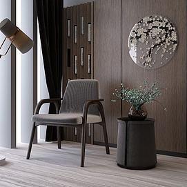 新中式休闲椅边几组合模型