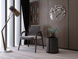 新中式休闲椅边几组合3D模型