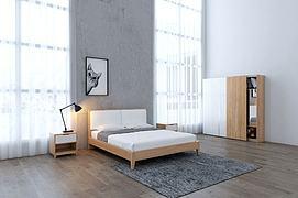 现代双人床衣柜3D模型