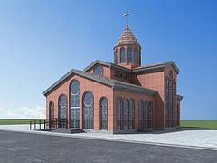 欧式教堂模型3d模型