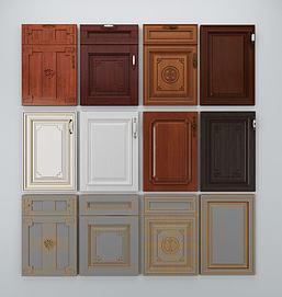 中式实木橱柜门板模型