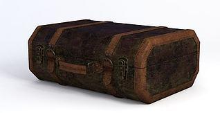 美式复古行李箱3d模型