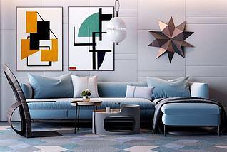 现代转角沙发3d模型
