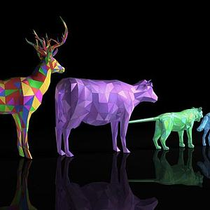 彩色多边形动物模型