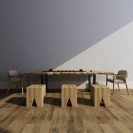 中式茶桌组合模型