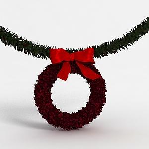 3d圣诞<font class='myIsRed'>装饰</font>花环模型