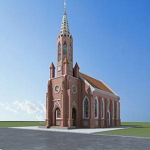 3d欧式教堂模型