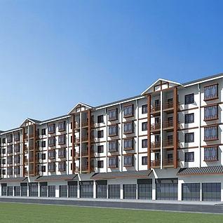 中式沿街建筑3d模型