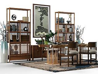 中式茶桌椅组合3d模型