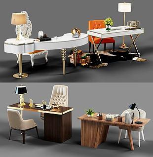 书桌椅组合3d模型