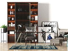 书桌椅组合模型3d模型