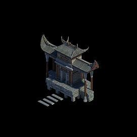 剑冢建筑场景模型