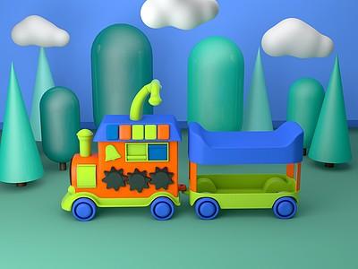 C4D小<font class='myIsRed'>火車</font>玩具模型