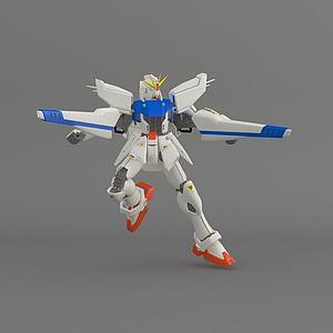 3d高達藍白模型