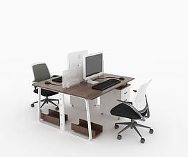 两人屏风办公桌3D模型