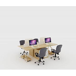 原木色现代屏风职员桌3d模型