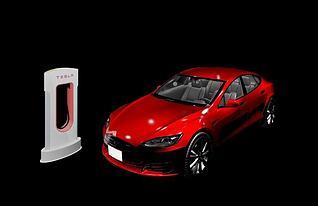 特斯拉电动汽车3d模型